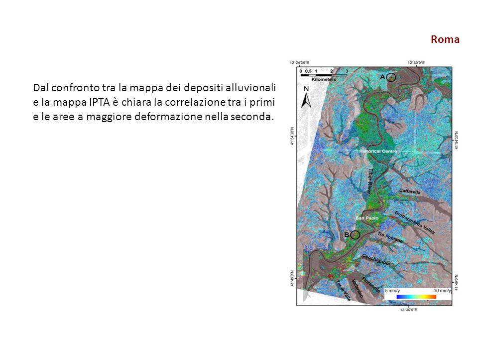 Roma Dal confronto tra la mappa dei depositi alluvionali e la mappa IPTA è chiara la correlazione tra i primi e le aree a maggiore deformazione nella seconda.
