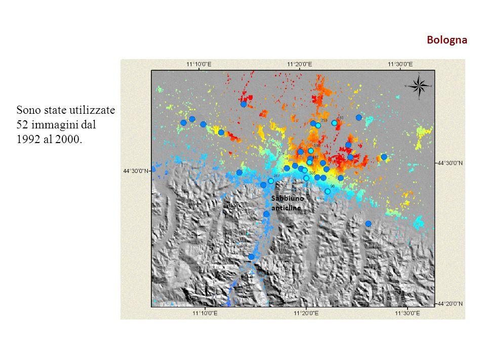 Sabbiuno anticline Sono state utilizzate 52 immagini dal 1992 al 2000.