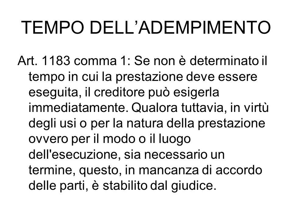 TEMPO DELL'ADEMPIMENTO Art. 1183 comma 1: Se non è determinato il tempo in cui la prestazione deve essere eseguita, il creditore può esigerla immediat