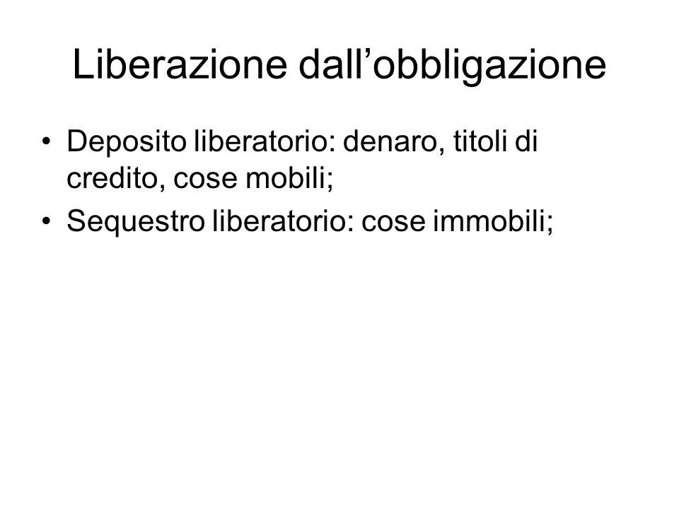 Liberazione dall'obbligazione Deposito liberatorio: denaro, titoli di credito, cose mobili; Sequestro liberatorio: cose immobili;