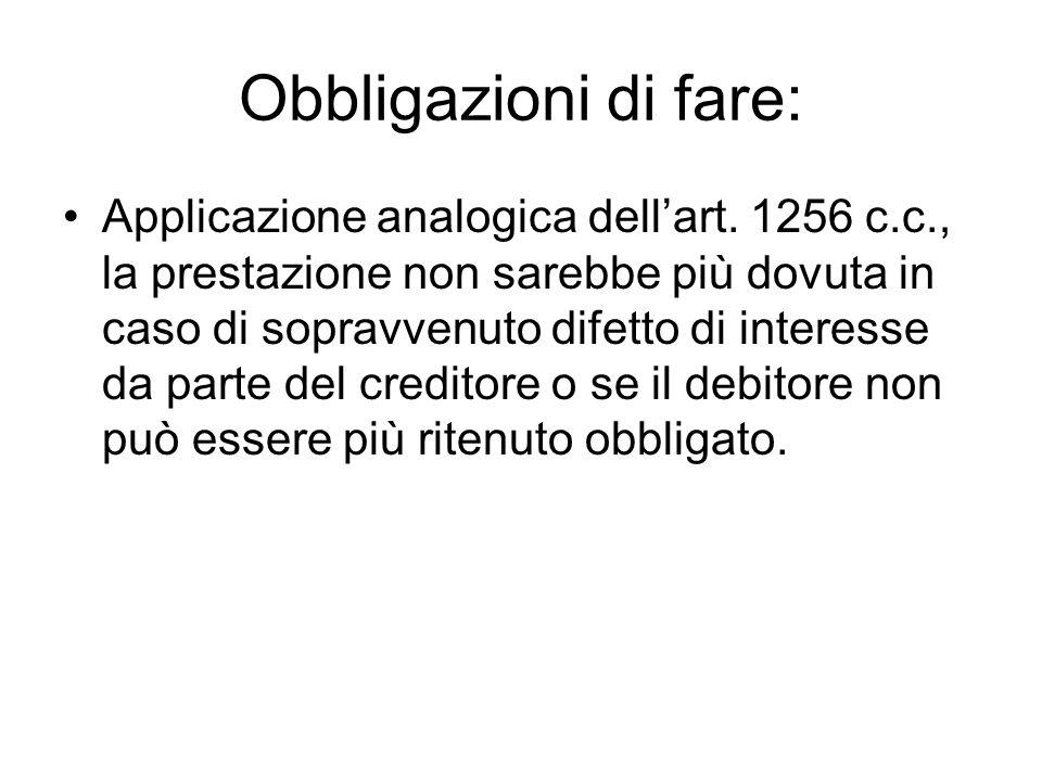 Obbligazioni di fare: Applicazione analogica dell'art. 1256 c.c., la prestazione non sarebbe più dovuta in caso di sopravvenuto difetto di interesse d
