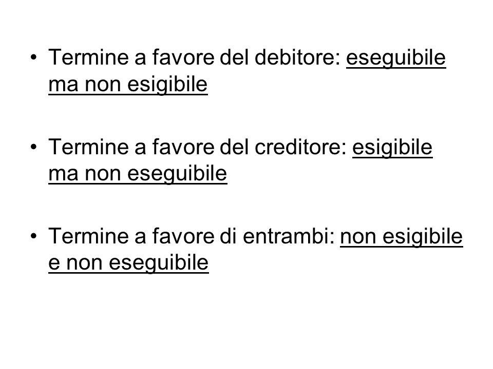 Termine a favore del debitore: eseguibile ma non esigibile Termine a favore del creditore: esigibile ma non eseguibile Termine a favore di entrambi: non esigibile e non eseguibile