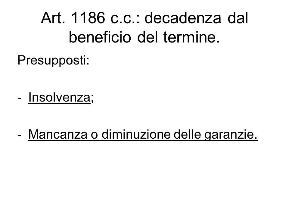 Art. 1186 c.c.: decadenza dal beneficio del termine. Presupposti: -Insolvenza; -Mancanza o diminuzione delle garanzie.