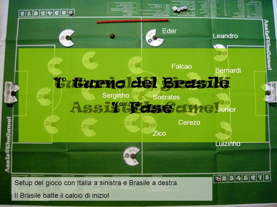 Setup del gioco con Italia a sinistra e Brasile a destra.