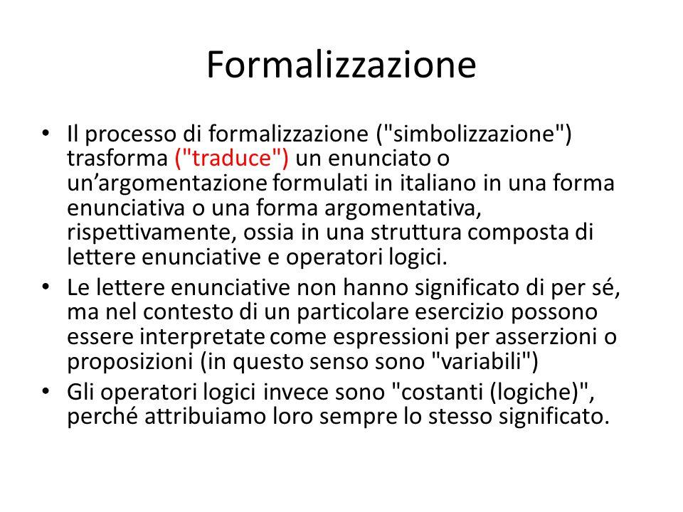 Formalizzazione Il processo di formalizzazione ( simbolizzazione ) trasforma ( traduce ) un enunciato o un'argomentazione formulati in italiano in una forma enunciativa o una forma argomentativa, rispettivamente, ossia in una struttura composta di lettere enunciative e operatori logici.