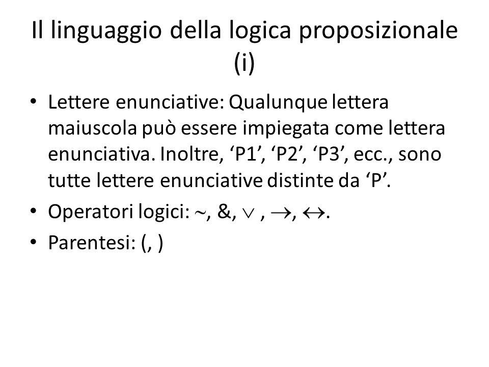 Il linguaggio della logica proposizionale (i) Lettere enunciative: Qualunque lettera maiuscola può essere impiegata come lettera enunciativa. Inoltre,
