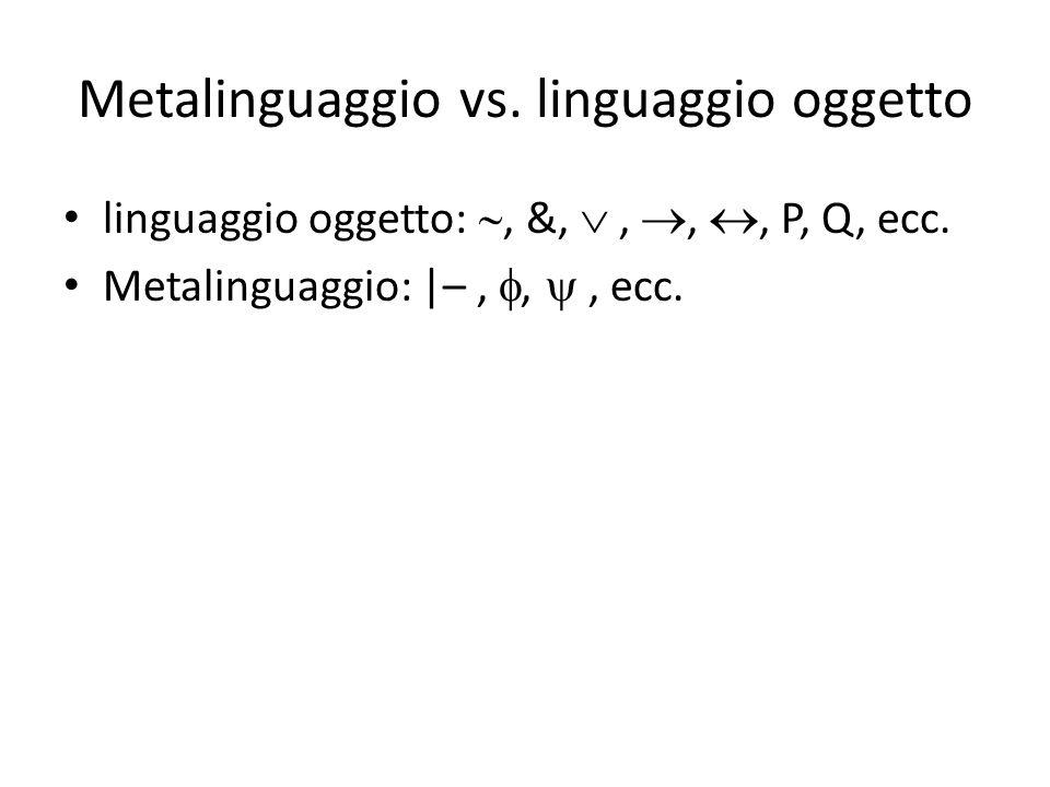 Metalinguaggio vs. linguaggio oggetto linguaggio oggetto: , &, , , , P, Q, ecc. Metalinguaggio: |–, , , ecc.