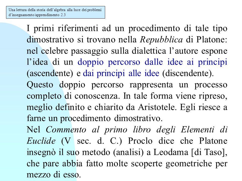 I primi riferimenti ad un procedimento di tale tipo dimostrativo si trovano nella Repubblica di Platone: nel celebre passaggio sulla dialettica l'auto
