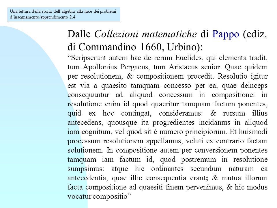 """Dalle Collezioni matematiche di Pappo (ediz. di Commandino 1660, Urbino): """"Scripserunt autem hac de rerum Euclides, qui elementa tradit, tum Apolloniu"""