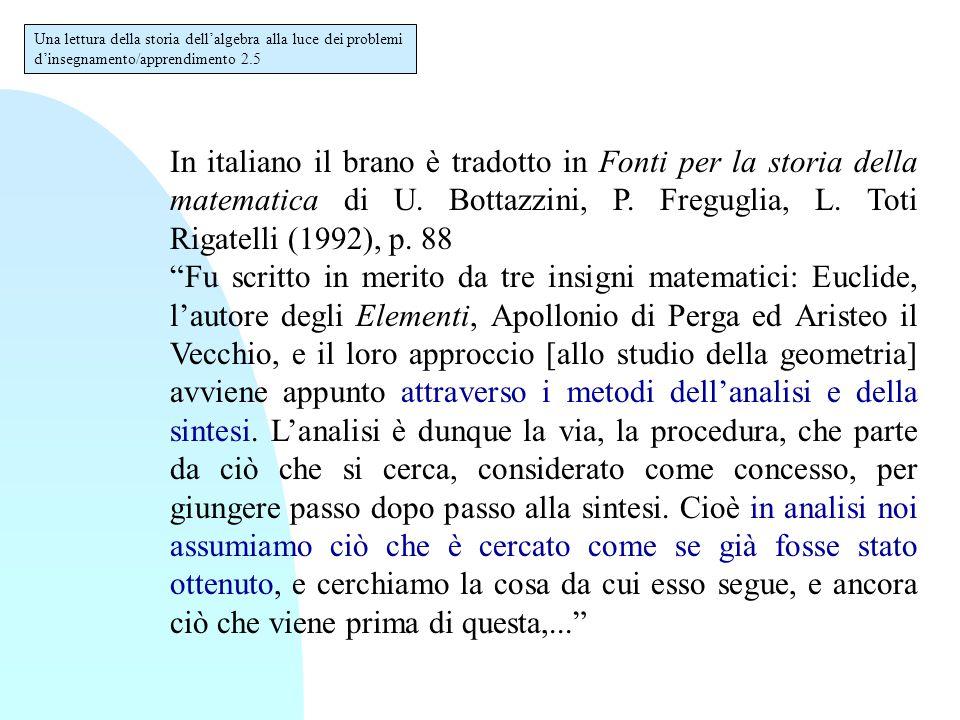 """In italiano il brano è tradotto in Fonti per la storia della matematica di U. Bottazzini, P. Freguglia, L. Toti Rigatelli (1992), p. 88 """"Fu scritto in"""