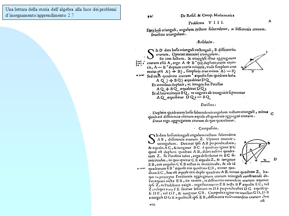 Una lettura della storia dell'algebra alla luce dei problemi d'insegnamento/apprendimento 2.7