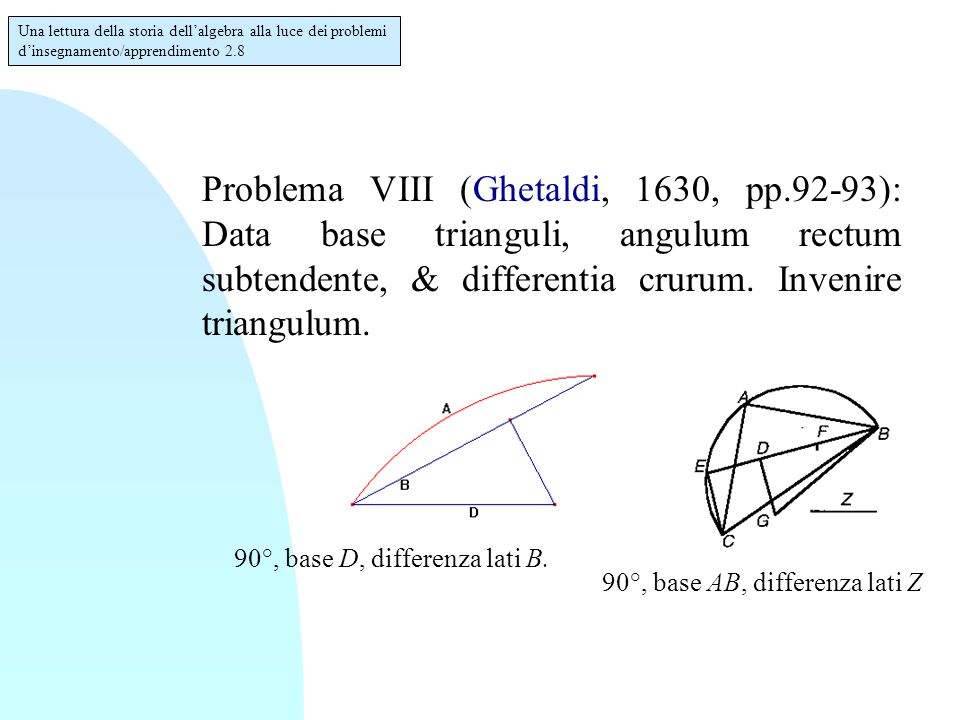 Problema VIII (Ghetaldi, 1630, pp.92-93): Data base trianguli, angulum rectum subtendente, & differentia crurum.