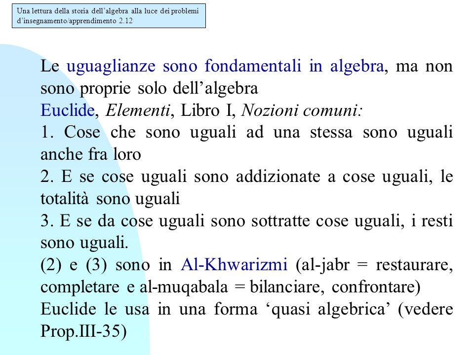 Le uguaglianze sono fondamentali in algebra, ma non sono proprie solo dell'algebra Euclide, Elementi, Libro I, Nozioni comuni: 1. Cose che sono uguali
