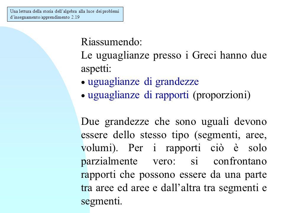Riassumendo: Le uguaglianze presso i Greci hanno due aspetti:  uguaglianze di grandezze  uguaglianze di rapporti (proporzioni) Due grandezze che son