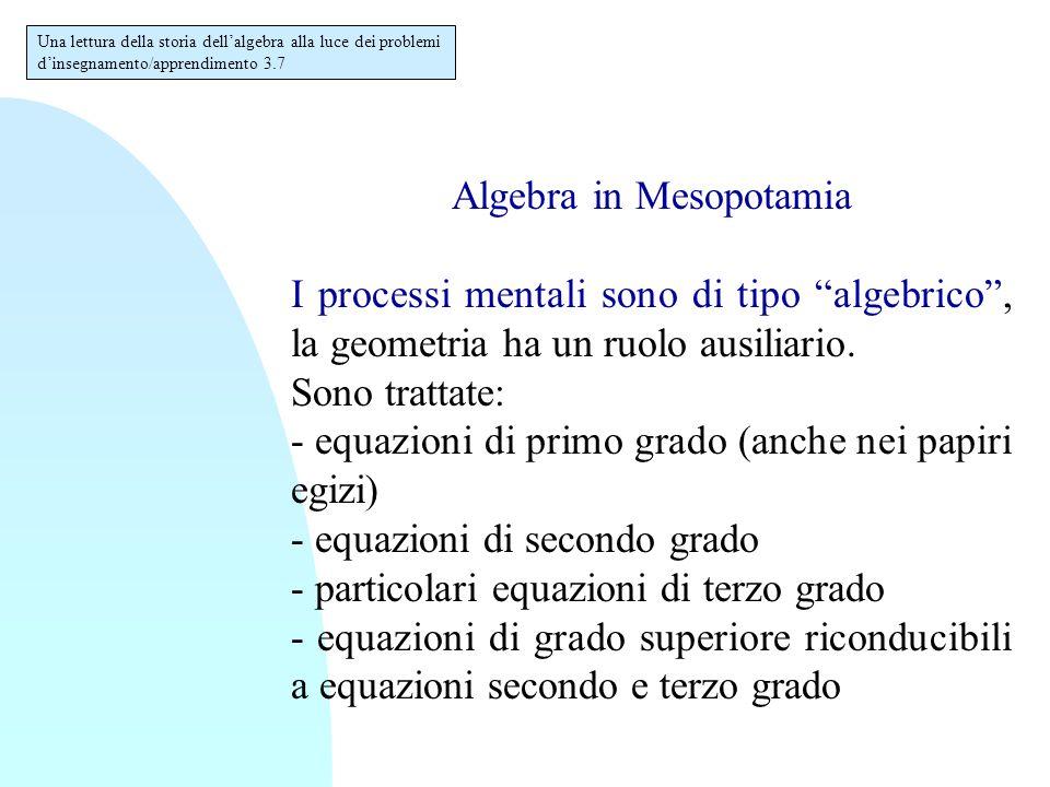 """Algebra in Mesopotamia I processi mentali sono di tipo """"algebrico"""", la geometria ha un ruolo ausiliario. Sono trattate: - equazioni di primo grado (an"""