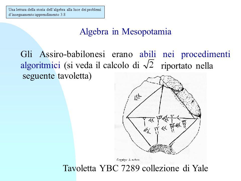 Algebra in Mesopotamia Gli Assiro-babilonesi erano abili nei procedimenti algoritmici (si veda il calcolo di Tavoletta YBC 7289 collezione di Yale Una