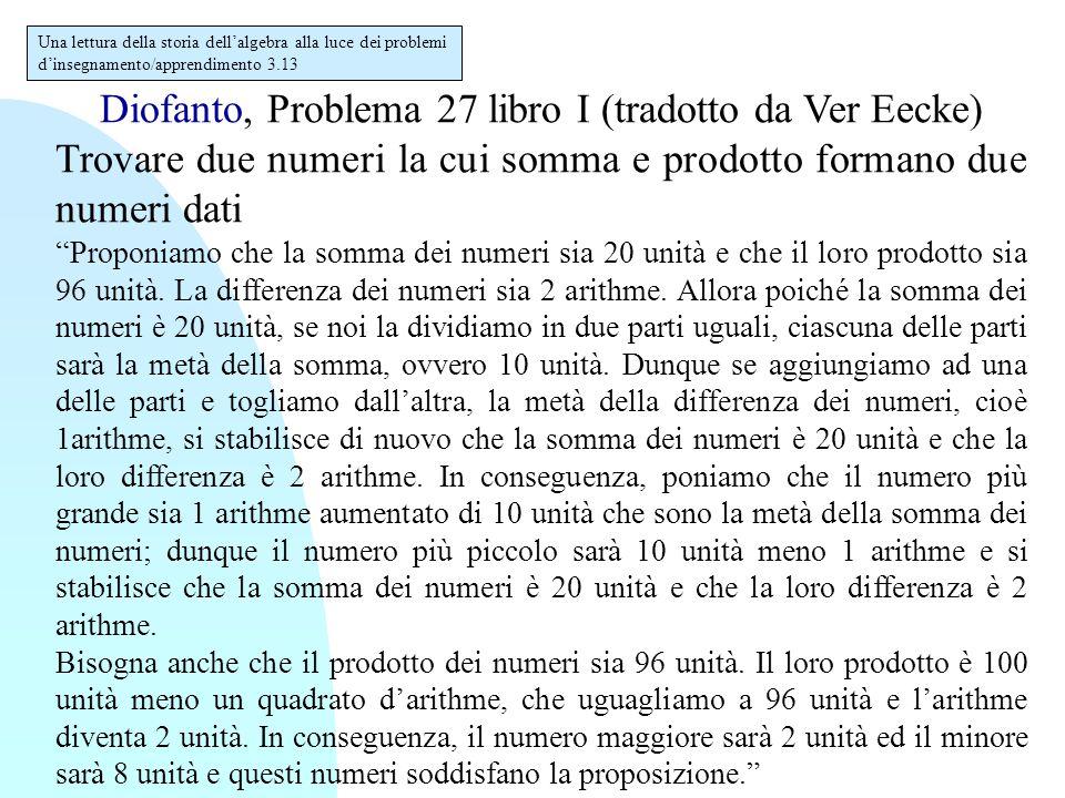"""Diofanto, Problema 27 libro I (tradotto da Ver Eecke) Trovare due numeri la cui somma e prodotto formano due numeri dati """" Proponiamo che la somma dei"""