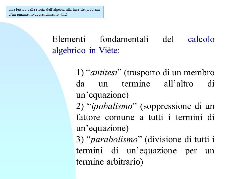 """Elementi fondamentali del calcolo algebrico in Viète: 1) """"antitesi"""" (trasporto di un membro da un termine all'altro di un'equazione) 2) """"ipobalismo"""" ("""