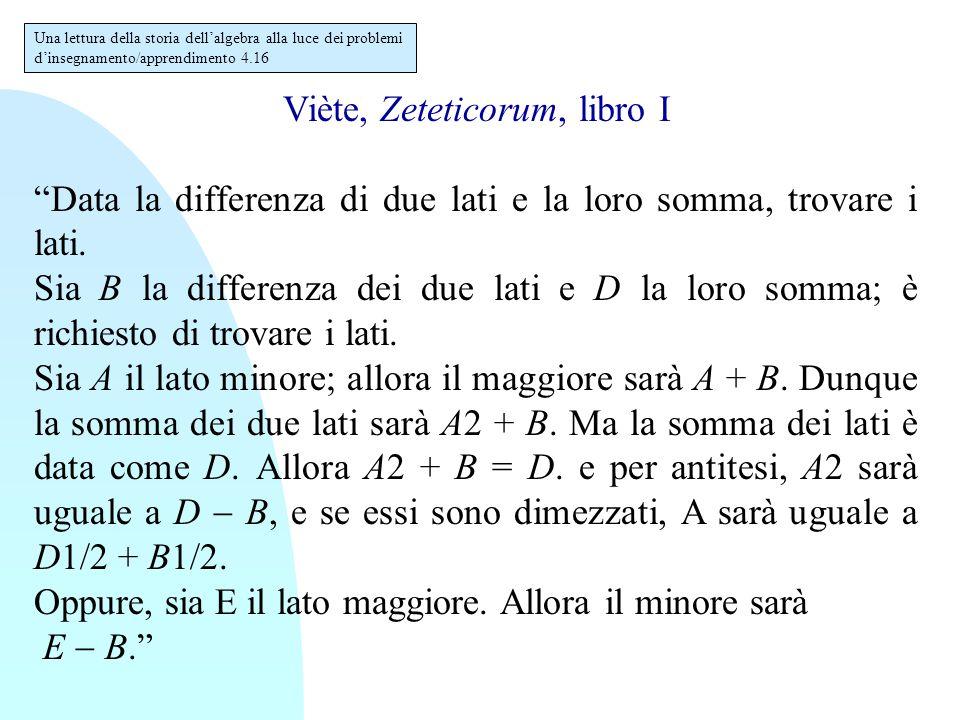 """Viète, Zeteticorum, libro I """"Data la differenza di due lati e la loro somma, trovare i lati. Sia B la differenza dei due lati e D la loro somma; è ric"""