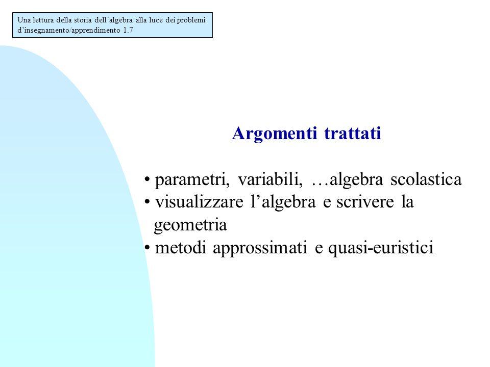 Argomenti trattati parametri, variabili, …algebra scolastica visualizzare l'algebra e scrivere la geometria metodi approssimati e quasi-euristici Una