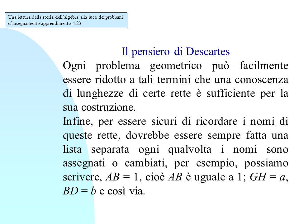 Il pensiero di Descartes Ogni problema geometrico può facilmente essere ridotto a tali termini che una conoscenza di lunghezze di certe rette è suffic
