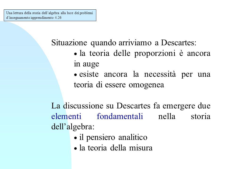Situazione quando arriviamo a Descartes:  la teoria delle proporzioni è ancora in auge  esiste ancora la necessità per una teoria di essere omogenea