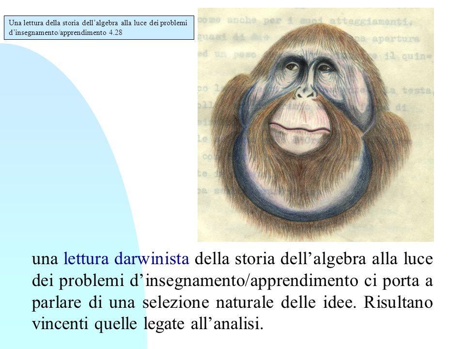 una lettura darwinista della storia dell'algebra alla luce dei problemi d'insegnamento/apprendimento ci porta a parlare di una selezione naturale dell