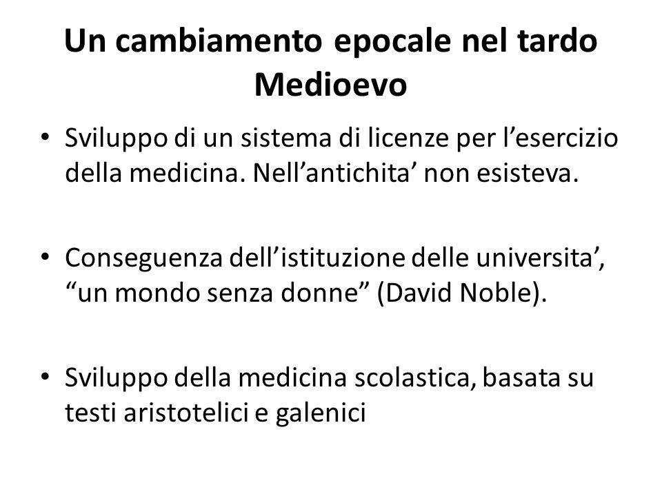 Un cambiamento epocale nel tardo Medioevo Sviluppo di un sistema di licenze per l'esercizio della medicina. Nell'antichita' non esisteva. Conseguenza