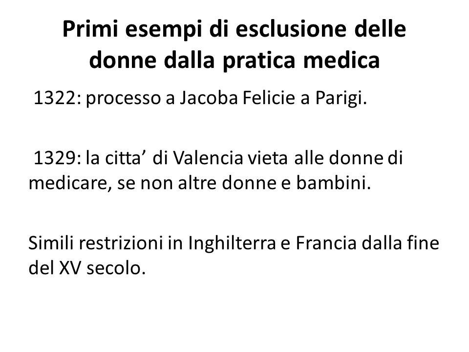 Primi esempi di esclusione delle donne dalla pratica medica 1322: processo a Jacoba Felicie a Parigi. 1329: la citta' di Valencia vieta alle donne di