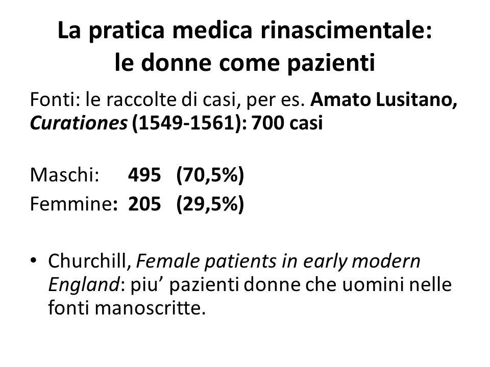 La pratica medica rinascimentale: le donne come pazienti Fonti: le raccolte di casi, per es. Amato Lusitano, Curationes (1549-1561): 700 casi Maschi: