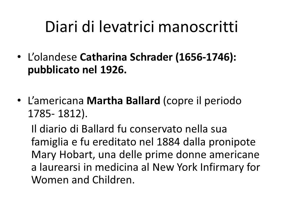 Diari di levatrici manoscritti L'olandese Catharina Schrader (1656-1746): pubblicato nel 1926. L'americana Martha Ballard (copre il periodo 1785- 1812