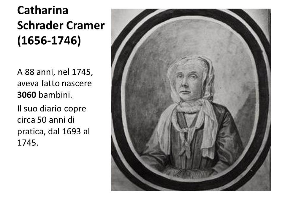 Catharina Schrader Cramer (1656-1746) A 88 anni, nel 1745, aveva fatto nascere 3060 bambini. Il suo diario copre circa 50 anni di pratica, dal 1693 al