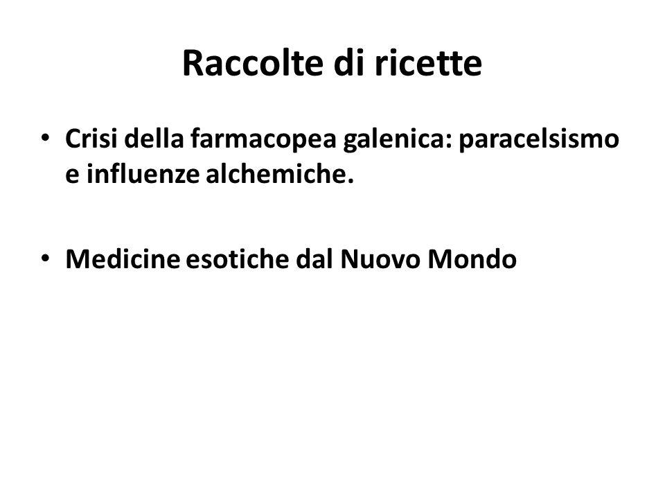 Raccolte di ricette Crisi della farmacopea galenica: paracelsismo e influenze alchemiche. Medicine esotiche dal Nuovo Mondo