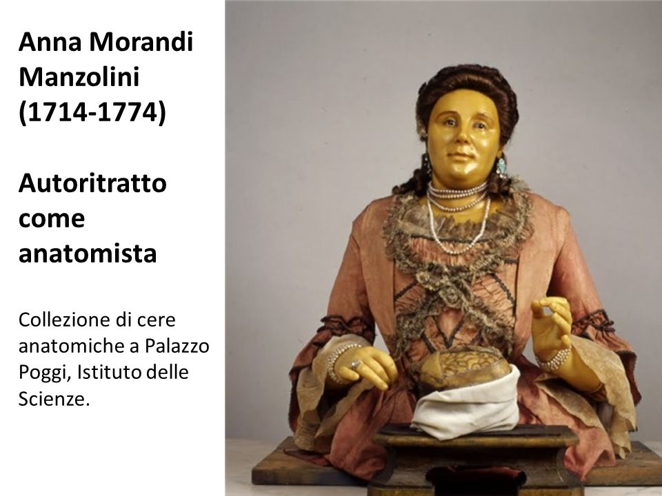 Self-portrait Anna Morandi Manzolini (1714-1774) Autoritratto come anatomista Collezione di cere anatomiche a Palazzo Poggi, Istituto delle Scienze.