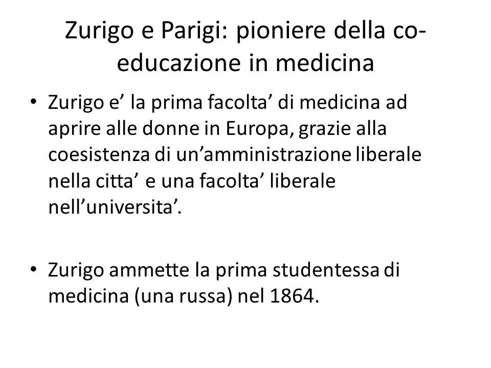 Zurigo e Parigi: pioniere della co- educazione in medicina Zurigo e' la prima facolta' di medicina ad aprire alle donne in Europa, grazie alla coesist