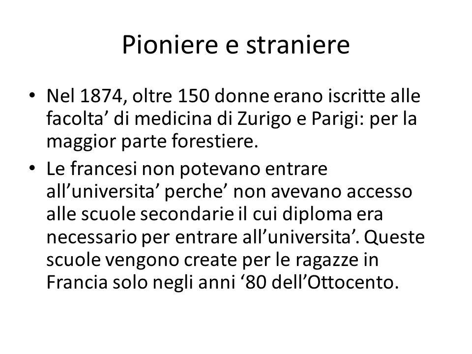 Pioniere e straniere Nel 1874, oltre 150 donne erano iscritte alle facolta' di medicina di Zurigo e Parigi: per la maggior parte forestiere. Le france
