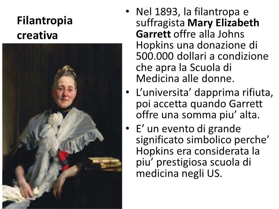 Filantropia creativa Nel 1893, la filantropa e suffragista Mary Elizabeth Garrett offre alla Johns Hopkins una donazione di 500.000 dollari a condizio