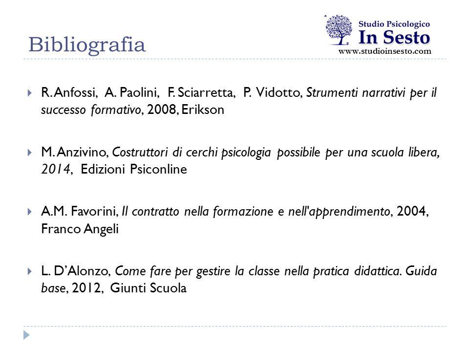Bibliografia  R. Anfossi, A. Paolini, F. Sciarretta, P. Vidotto, Strumenti narrativi per il successo formativo, 2008, Erikson  M. Anzivino, Costrutt