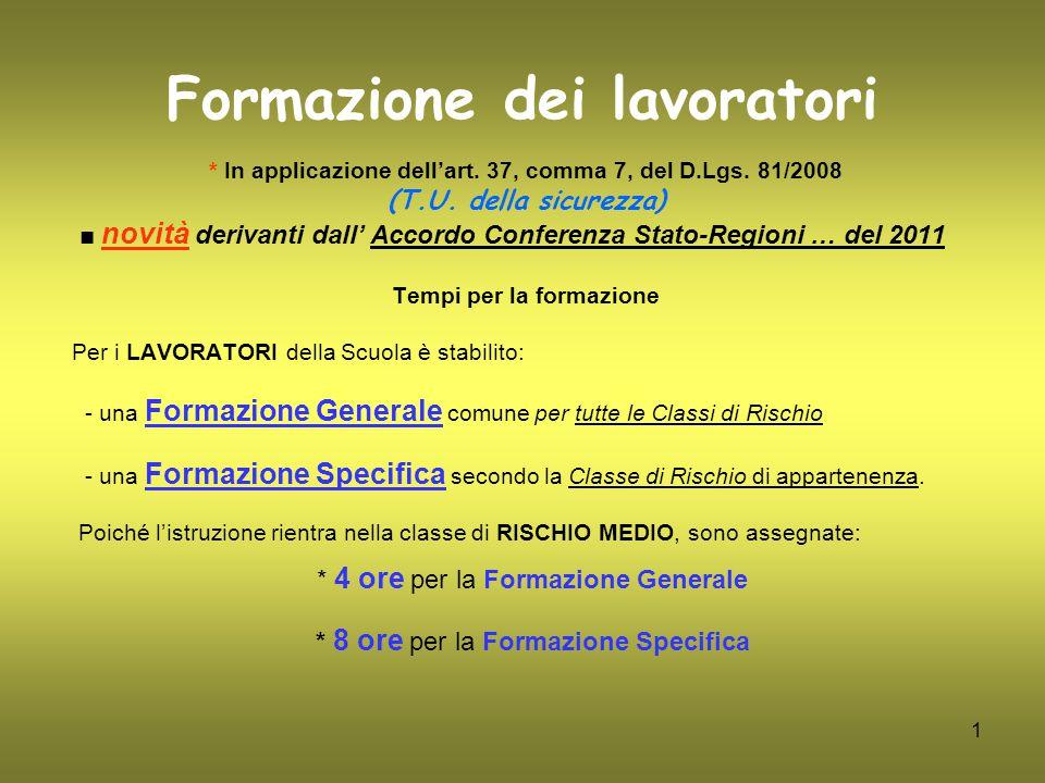 1 Formazione dei lavoratori * In applicazione dell'art. 37, comma 7, del D.Lgs. 81/2008 (T.U. della sicurezza) ■ novità derivanti dall' Accordo Confer