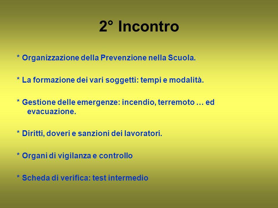 2° Incontro * Organizzazione della Prevenzione nella Scuola. * La formazione dei vari soggetti: tempi e modalità. * Gestione delle emergenze: incendio