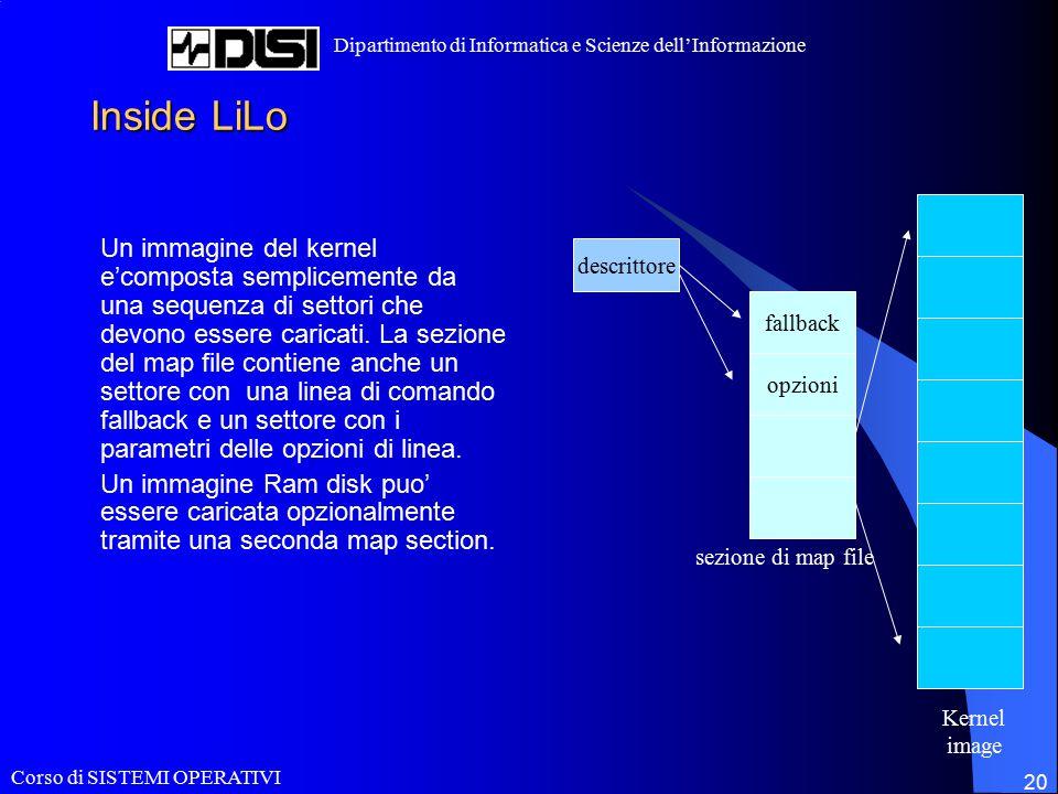 Corso di SISTEMI OPERATIVI Dipartimento di Informatica e Scienze dell'Informazione 20 Inside LiLo Un immagine del kernel e'composta semplicemente da una sequenza di settori che devono essere caricati.