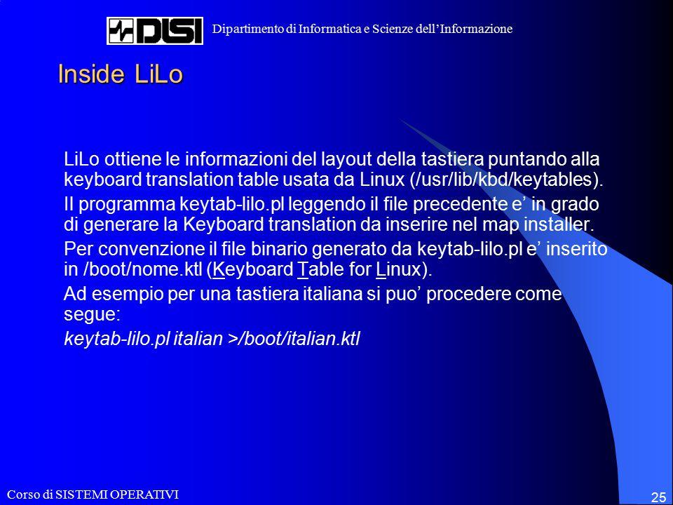 Corso di SISTEMI OPERATIVI Dipartimento di Informatica e Scienze dell'Informazione 25 Inside LiLo LiLo ottiene le informazioni del layout della tastiera puntando alla keyboard translation table usata da Linux (/usr/lib/kbd/keytables).