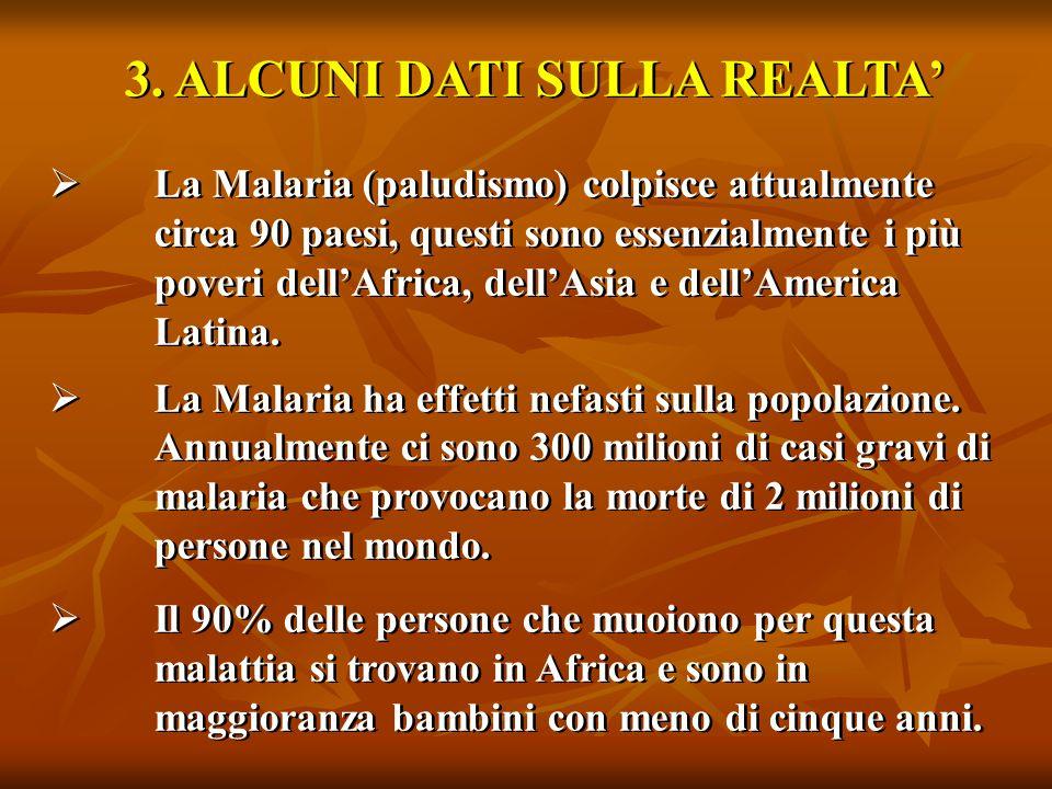 3. ALCUNI DATI SULLA REALTA'  La Malaria (paludismo) colpisce attualmente circa 90 paesi, questi sono essenzialmente i più poveri dell'Africa, dell'A