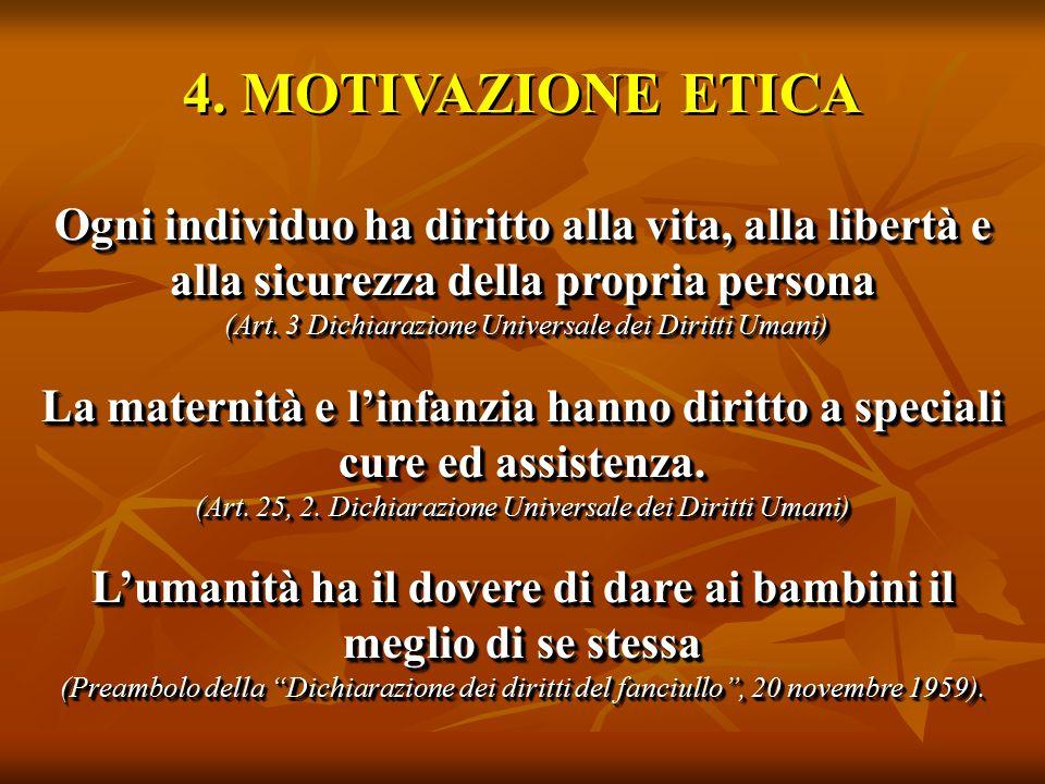 4. MOTIVAZIONE ETICA Ogni individuo ha diritto alla vita, alla libertà e alla sicurezza della propria persona (Art. 3 Dichiarazione Universale dei Dir