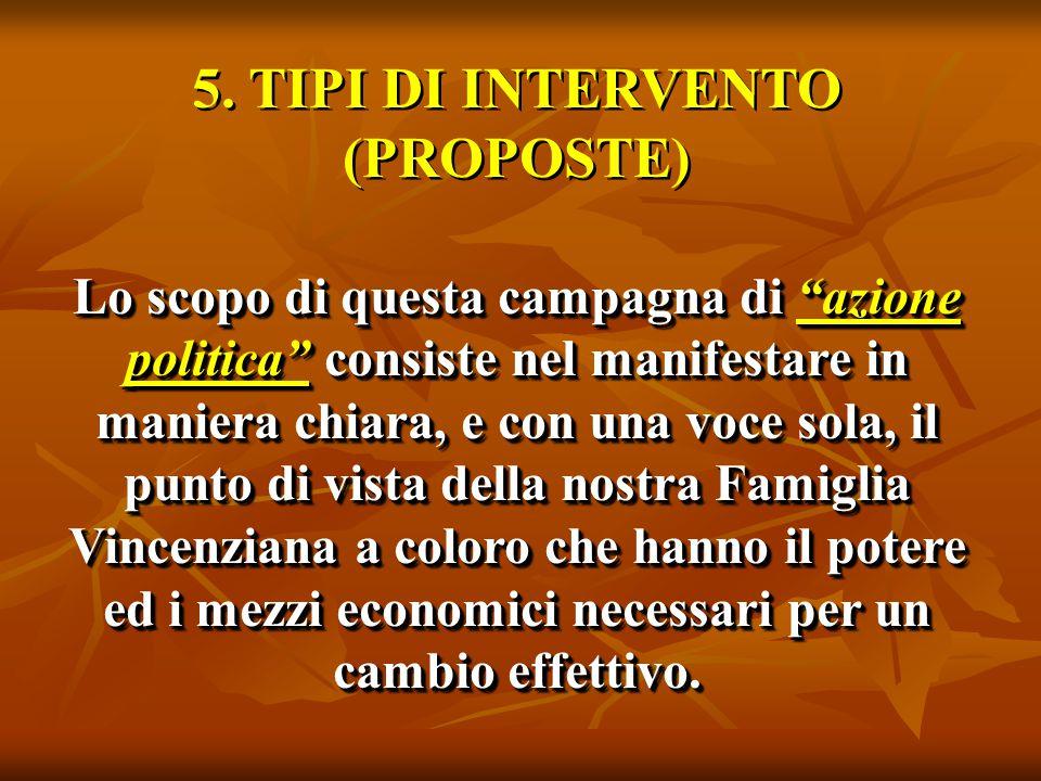 """5. TIPI DI INTERVENTO (PROPOSTE) Lo scopo di questa campagna di """"azione politica"""" consiste nel manifestare in maniera chiara, e con una voce sola, il"""