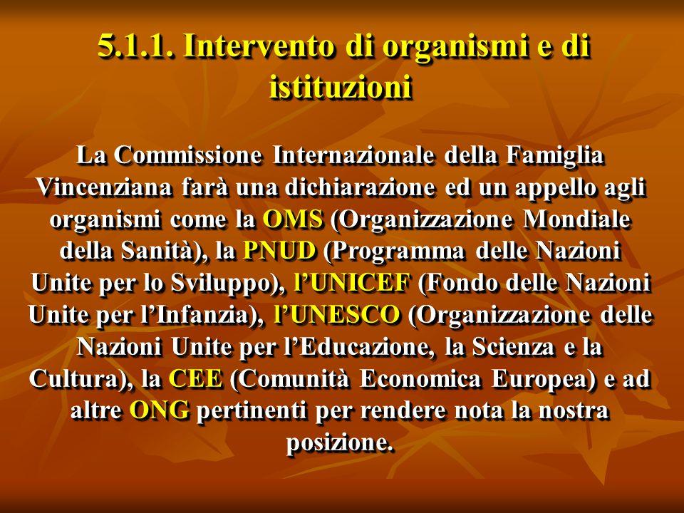 5.1.1. Intervento di organismi e di istituzioni La Commissione Internazionale della Famiglia Vincenziana farà una dichiarazione ed un appello agli org
