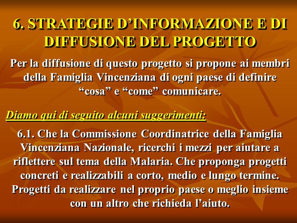 6. STRATEGIE D'INFORMAZIONE E DI DIFFUSIONE DEL PROGETTO Per la diffusione di questo progetto si propone ai membri della Famiglia Vincenziana di ogni