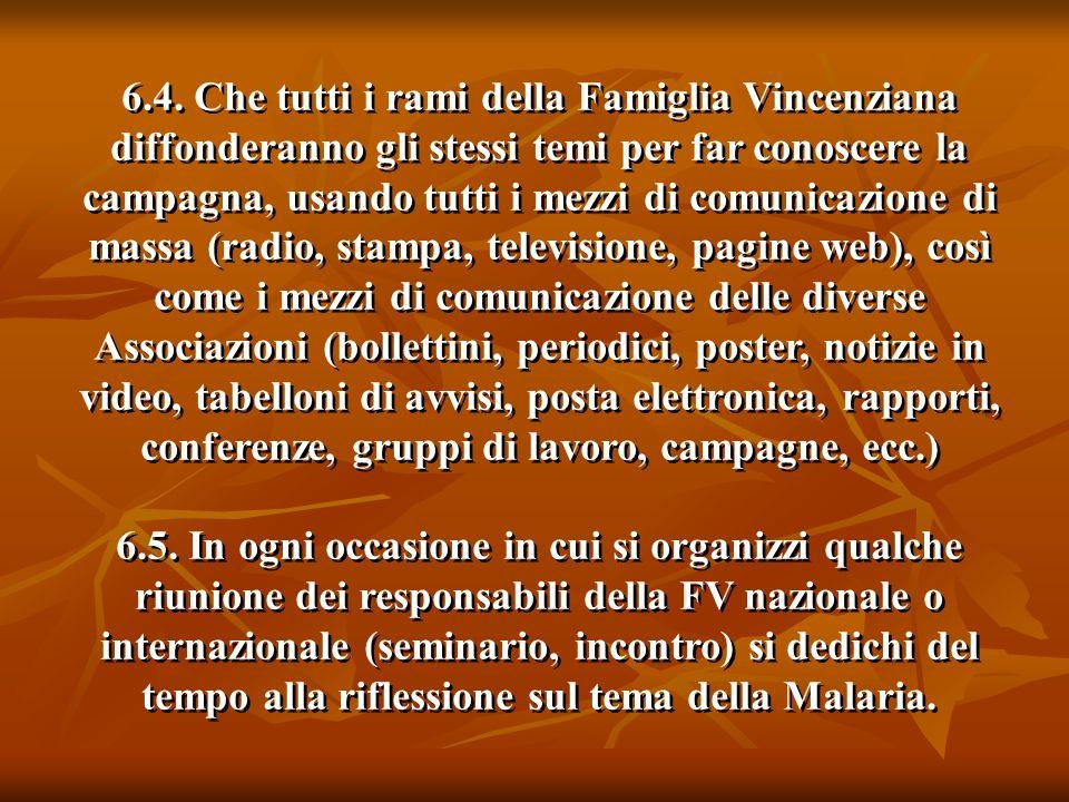 6.4. Che tutti i rami della Famiglia Vincenziana diffonderanno gli stessi temi per far conoscere la campagna, usando tutti i mezzi di comunicazione di