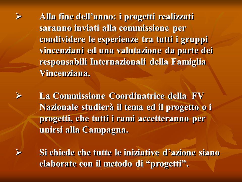  Alla fine dell'anno: i progetti realizzati saranno inviati alla commissione per condividere le esperienze tra tutti i gruppi vincenziani ed una valutazione da parte dei responsabili Internazionali della Famiglia Vincenziana.