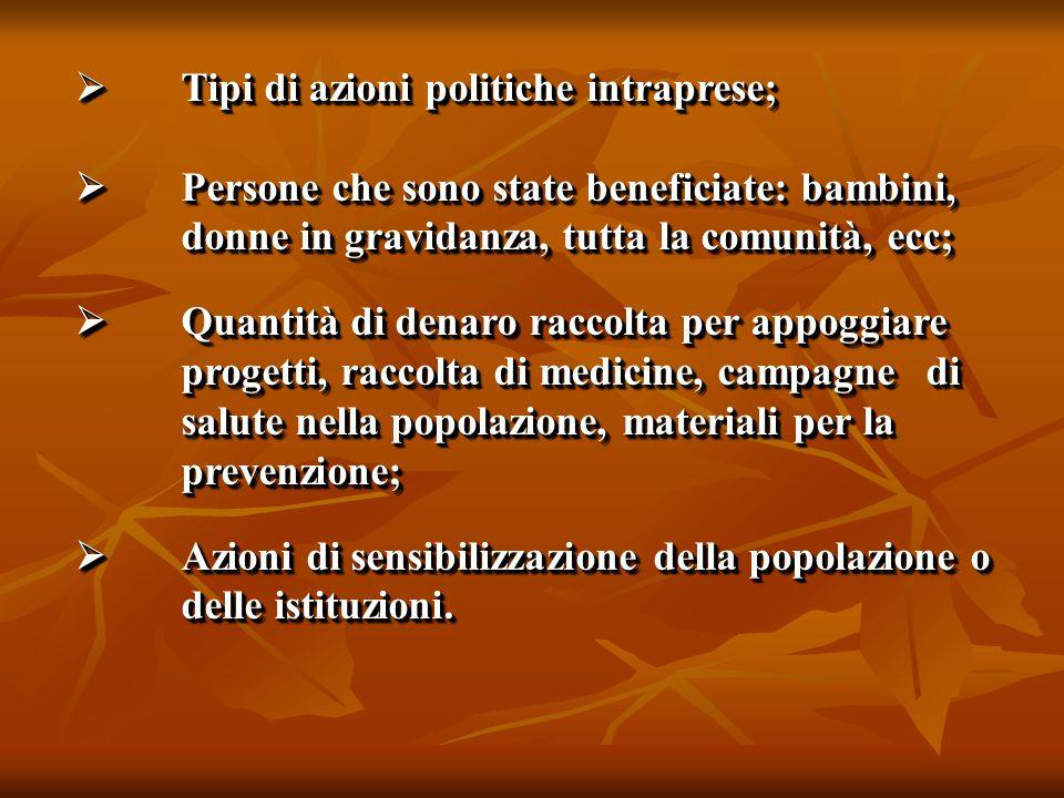  Tipi di azioni politiche intraprese;  Persone che sono state beneficiate: bambini, donne in gravidanza, tutta la comunità, ecc;  Quantità di denar